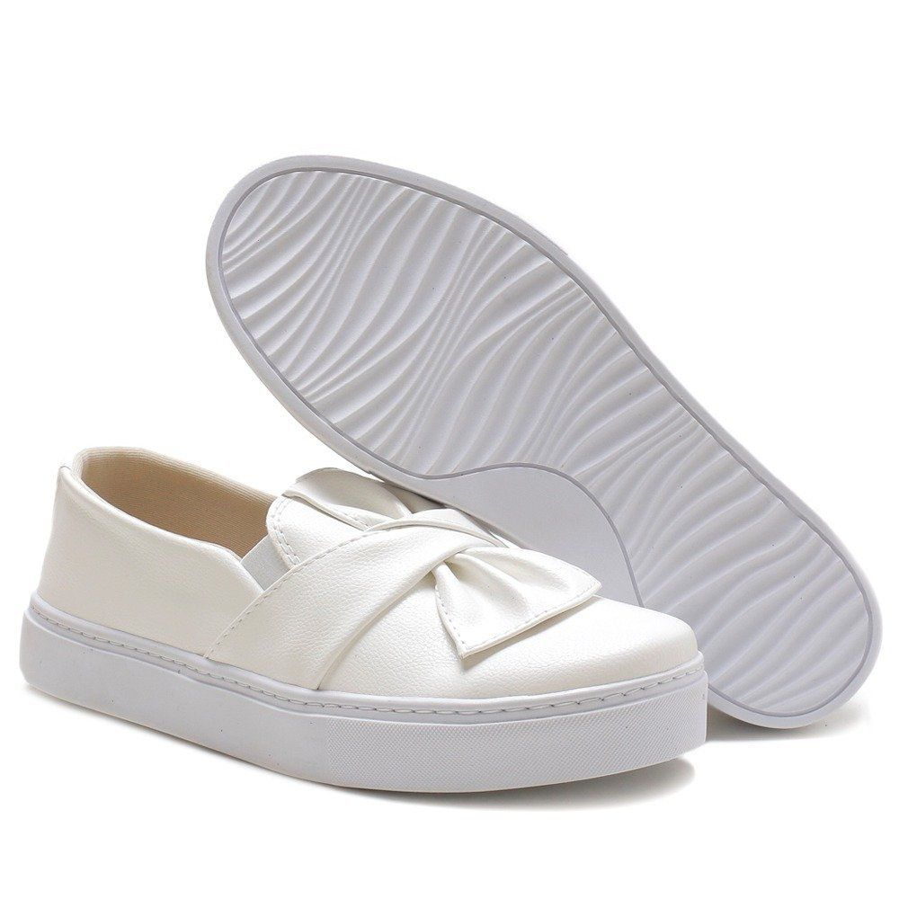 Tênis Slip On Branco Laço Feminino Torani Anne
