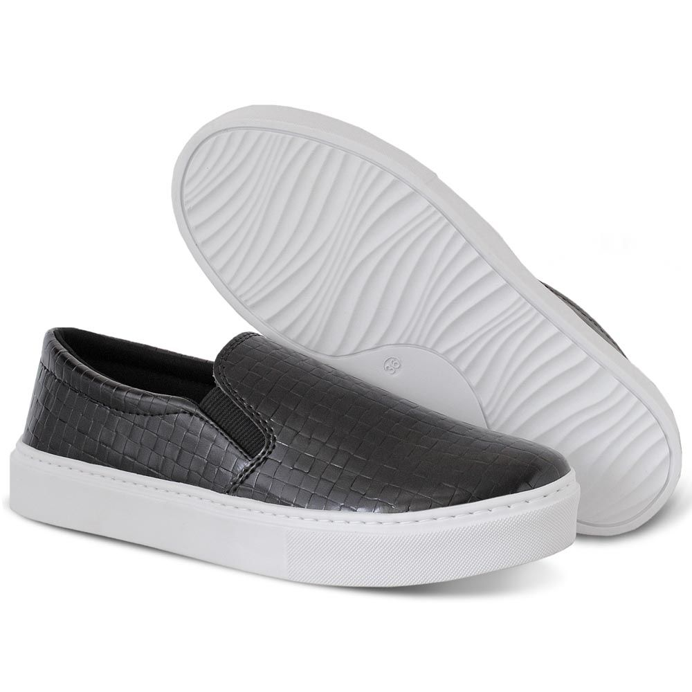 Tênis Slip On Preto Croco Torani