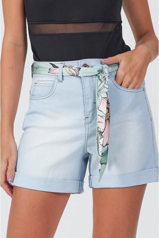 Bermuda Jeans Cassia Com Lenço - GATABAKANA