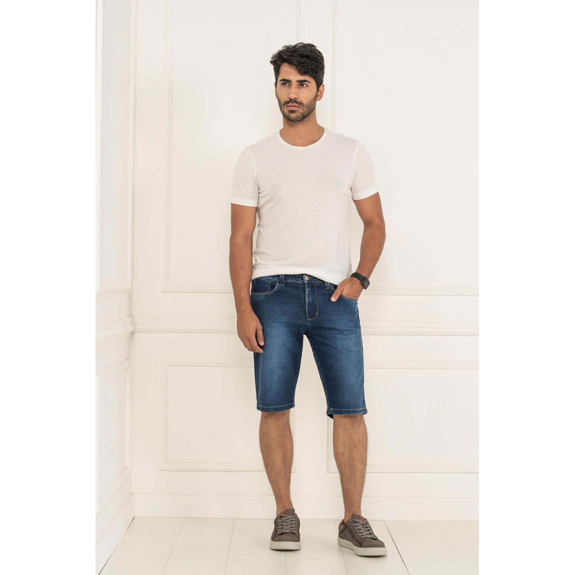 Bermuda Masculino Slim Lycra Jeans - KACOLAKO