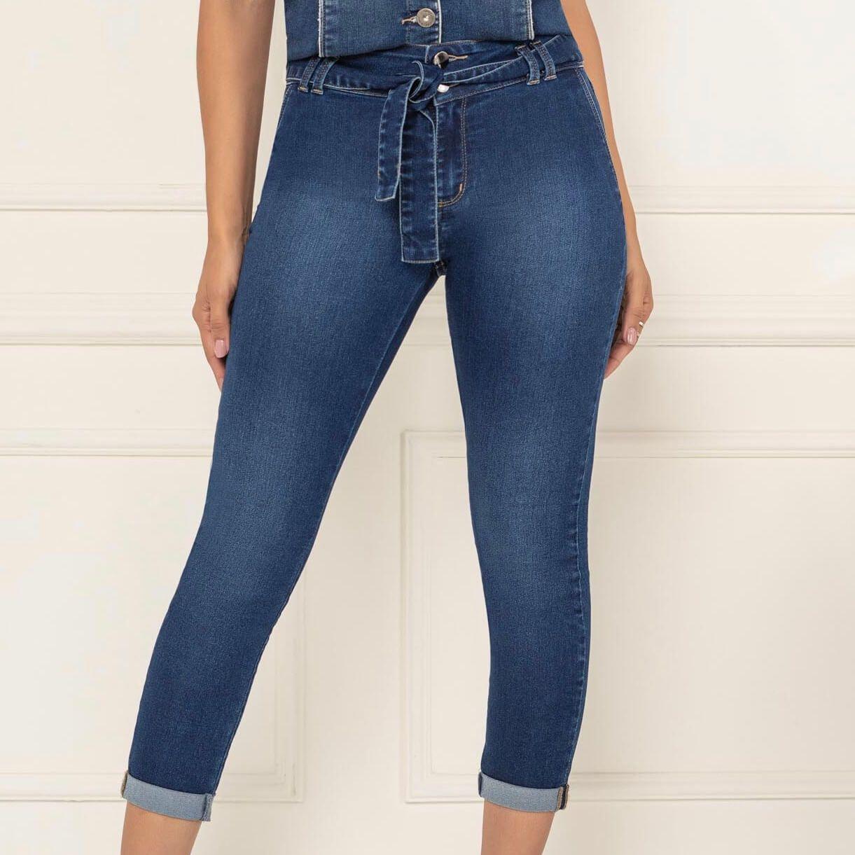 Calça Cropped Lycra Jeans - KACOLAKO