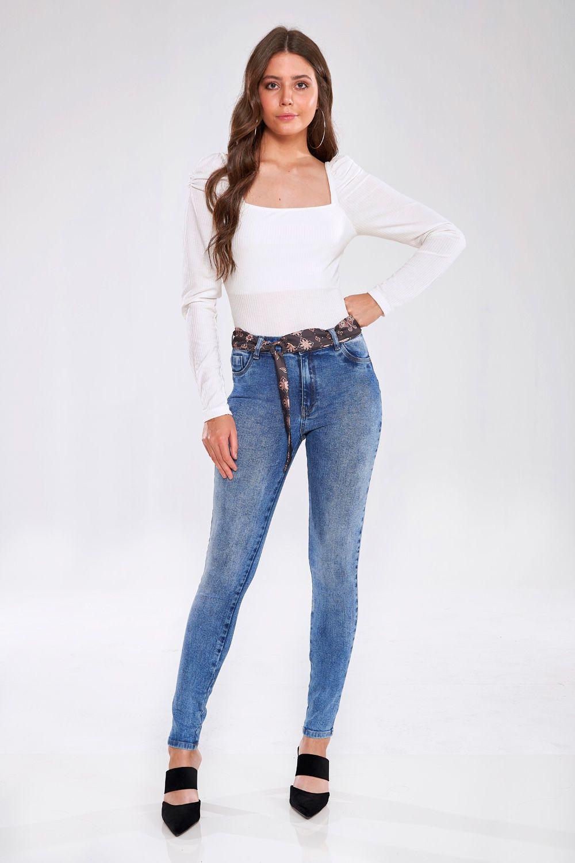 Calça Jeans Skinny Com Lenço - GATA BAKANA
