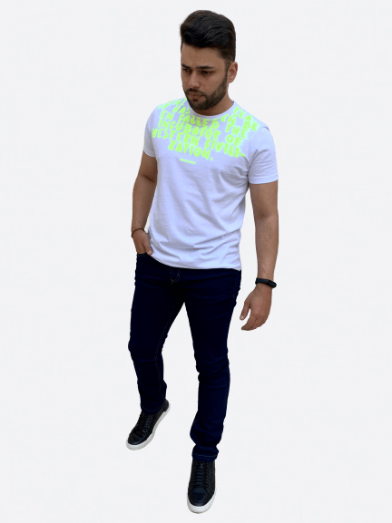 Camiseta Manga Curta Neon Estampada - ACOSTAMENTO