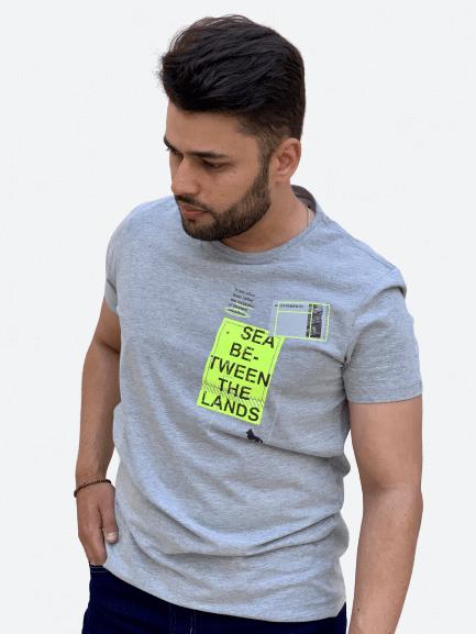 Camiseta Manga Curta Neon Mescla Escuro - Acostamento