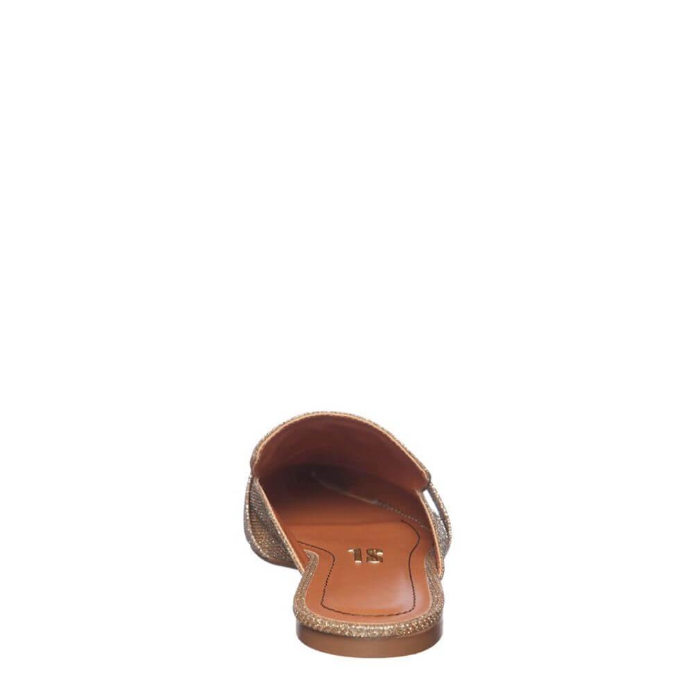 Mule Envernizado Bico Fino Detalhes Dourado - SANTA LOLLA