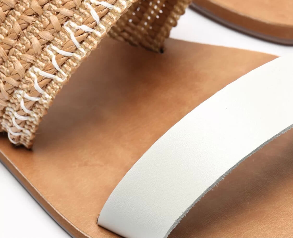 Rasteira Marrom Tecido Rústico Detalhe Branco ANACAPRI