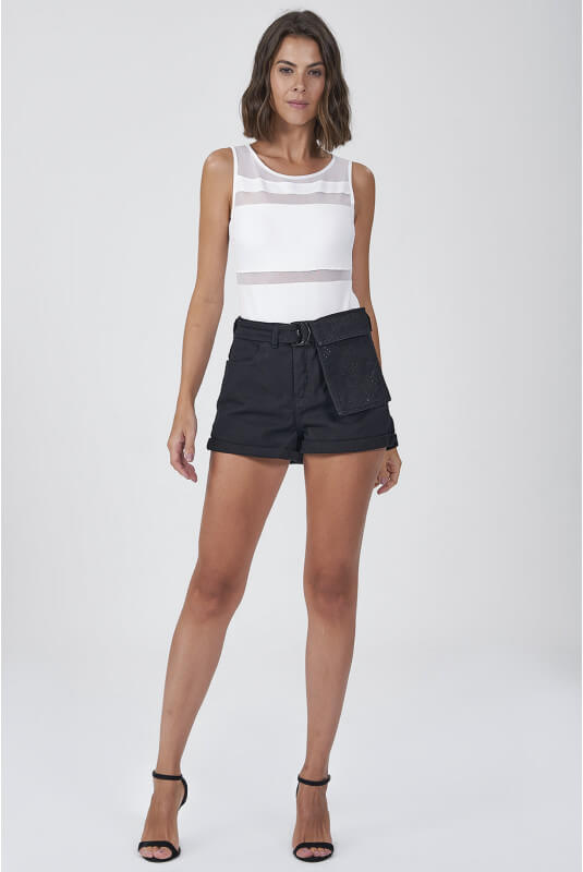 Shorts Jeans Elisa Black Shine - GATABAKANA