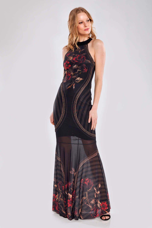Vestido Longo Rosas Da Espanha - GATABAKANA