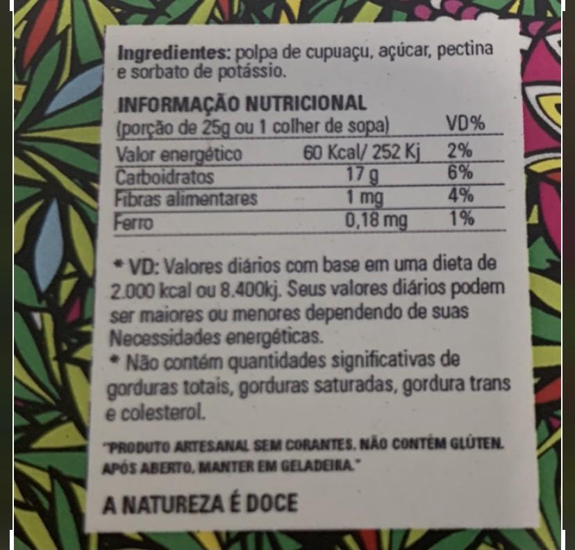 Geleia de Cupuaçu - 700g  - Frutos da Amazônia