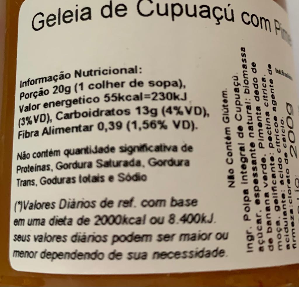 GELEIA DE CUPUAÇU C/ PIMENTA  - Frutos da Amazônia