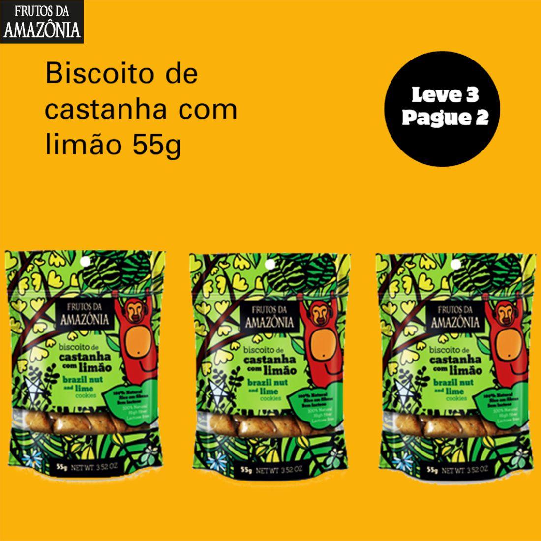 Leve 3 Pague 2 Biscoito de Castanha com Limão - 55g  - Frutos da Amazônia