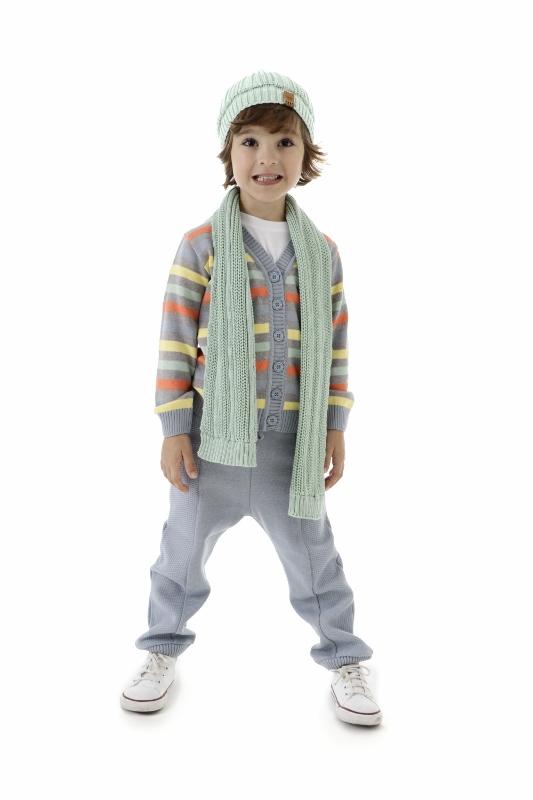 Conjunto Cachecol e Gorro Tricot Infantil Menino Kurt