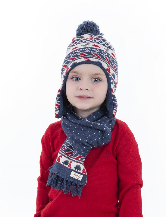 Conjunto Tricot Infantil Gola e Gorro Menino Tobias