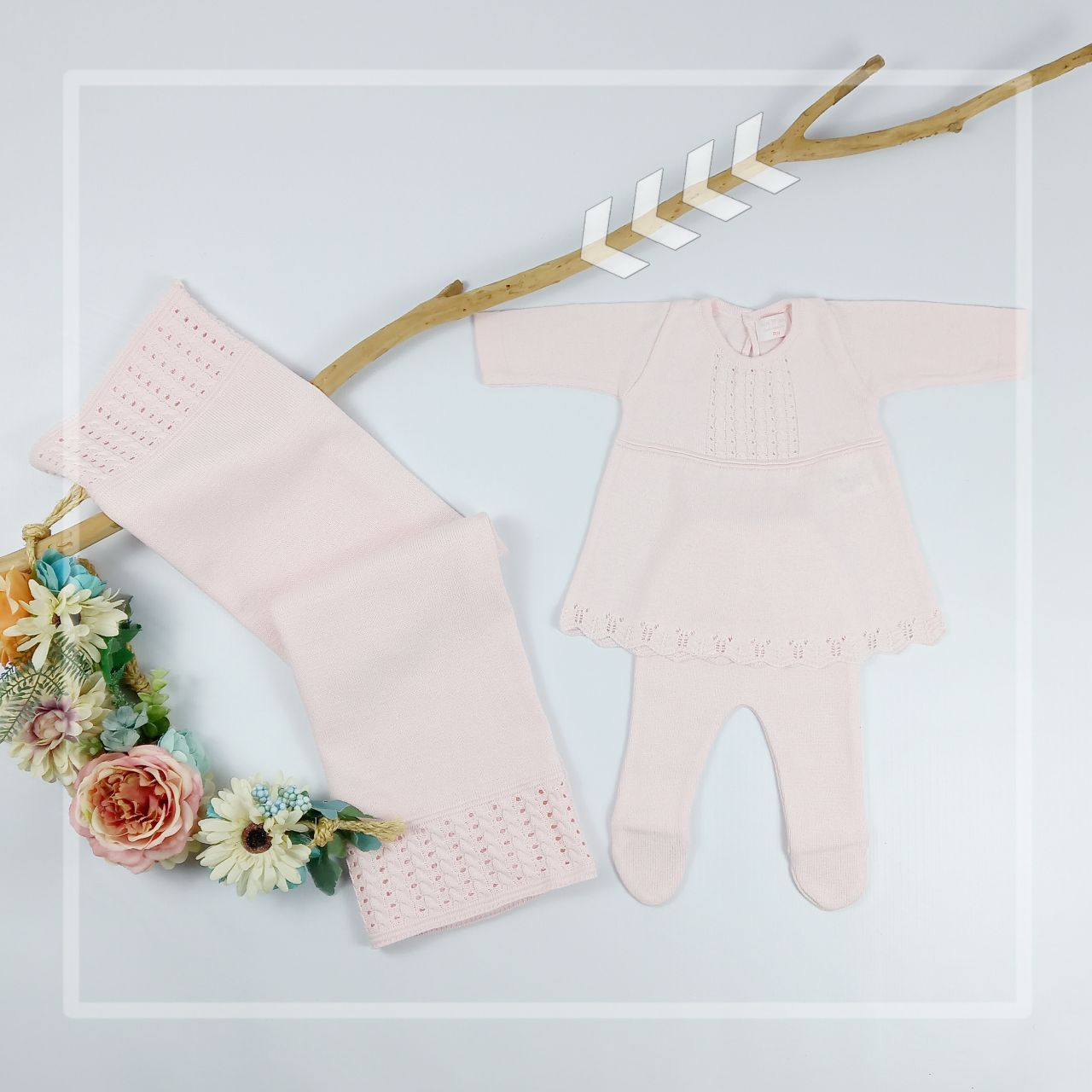 Kit Tricot Saída Maternidade Bebê Menina Laura