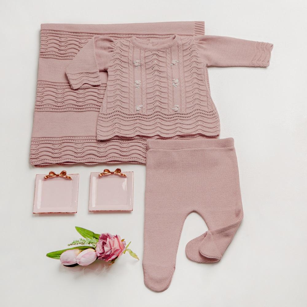 Kit Tricot Saída Maternidade Bebê Menina Mia