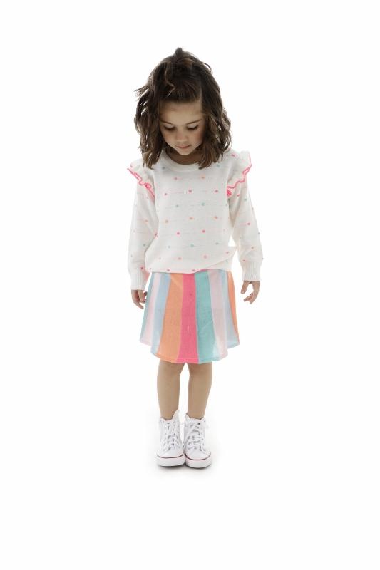 Saia Tricot Infantil Menina Neon