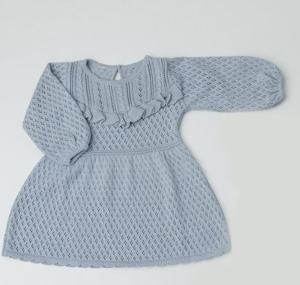 Vestido Tricot Infantil Bebê Menina Rosa