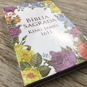 Bíblia Sagrada King James 1611 - Semi Luxo Flores Coloridas