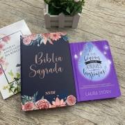 Kit Bíblia NVI lilás floral , bordas pintadas + Devocional e Se Suas Bençãos vierem através de Lagrimas?