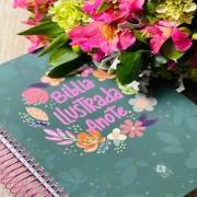 Bíblia ilustrada anote cores e flores - NVT + BRINDE