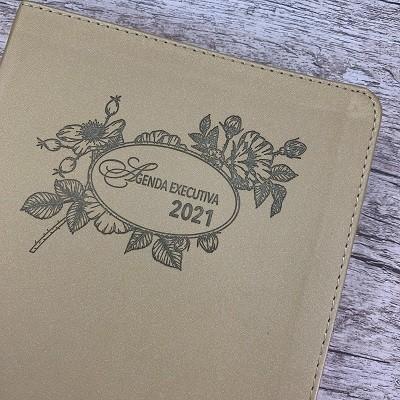 Agenda Executiva Feminina 2021 - Pão Diário - Capa em Couro Dourada