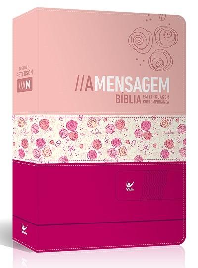 Bíblia A Mensagem – capa luxo rosa claro e escuro