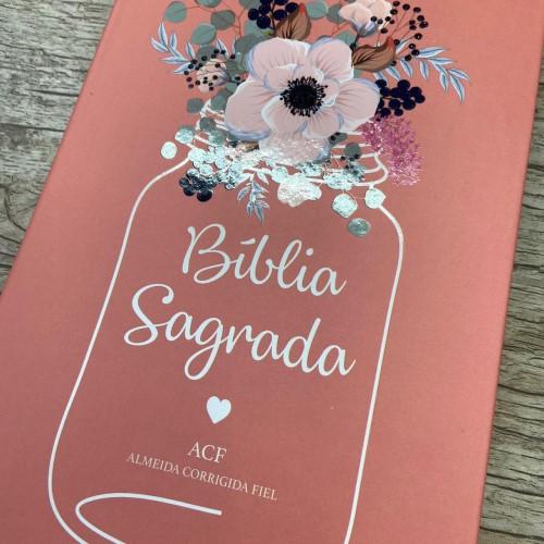 Bíblia ACF semi-luxo Flor De Pote