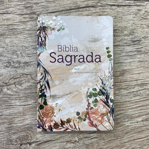 Bíblia ACF semi-luxo Flor Marmorizada
