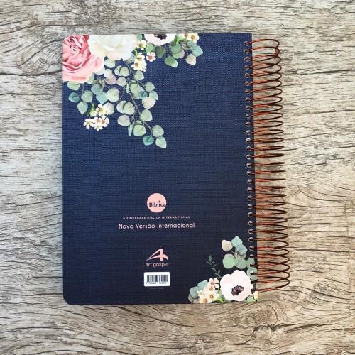 Bíblia Anote Espiral Flores Jeans - NVI