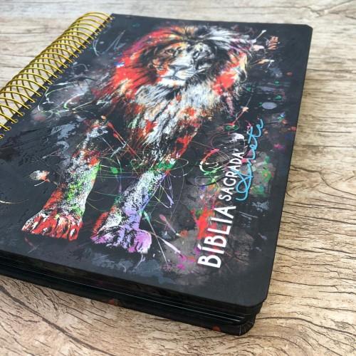Bíblia Anote Espiral Leão Grafite - NVI
