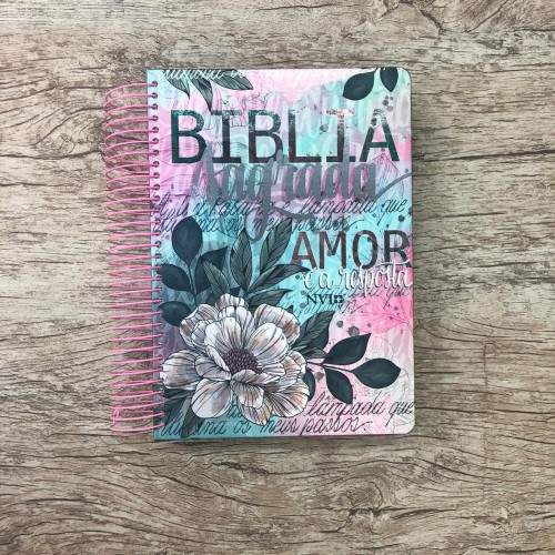 Bíblia anote Espiral NVI Flor Artística + Brinde