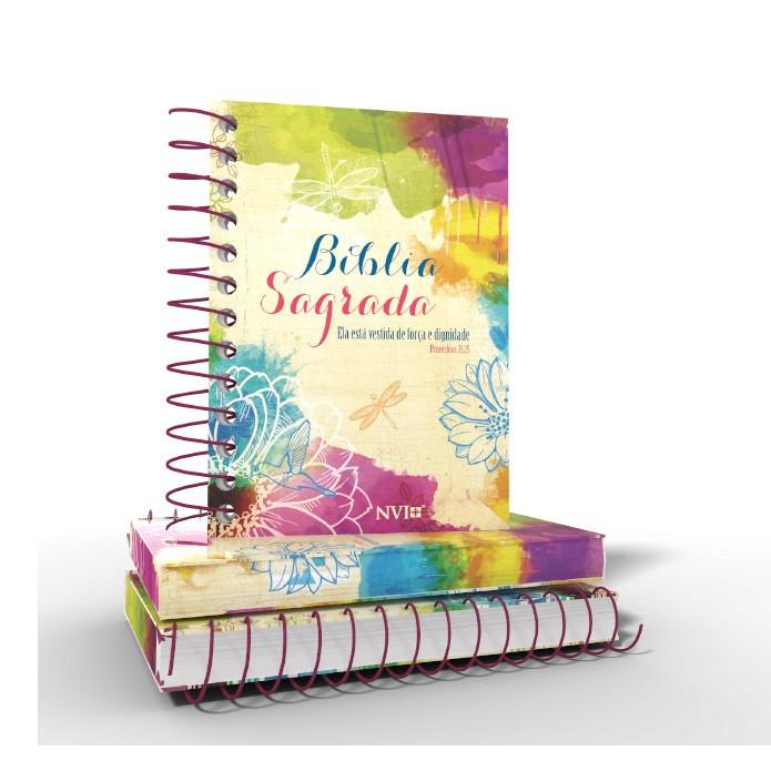 Bíblia Anote NVI espiral - Ela está vestida de força e dignidade + Brinde