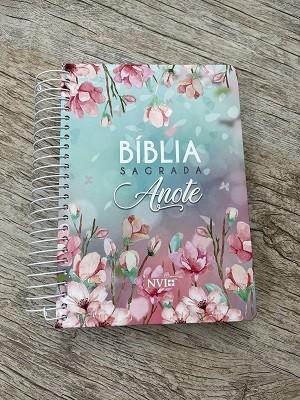 Bíblia Anote NVI Espiral - Feminina - Flores Rosas