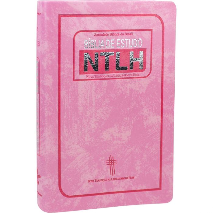 Bíblia de Estudo NTLH - capa couro bonded rosa