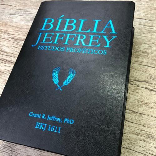 Bíblia Jeffrey de Estudos Proféticos King James - BKJ 1611 - Letra Normal - Capa Luxo Preta e Azul