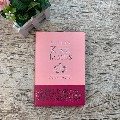 Bíblia King James KJA – SLIM – Capa Luxo Duotone Rosa e Pink