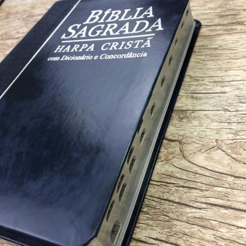 Bíblia Sagrada Com Harpa Cristã - Letra Grande - Rc - Azul