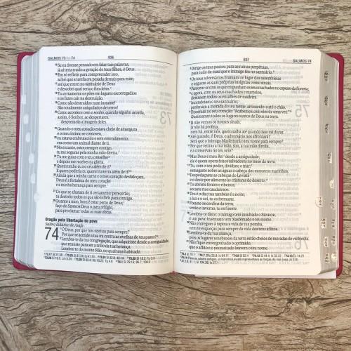 Bíblia Sagrada Letra Gigante - NAA - Rosa com Índice