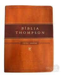 Bíblia Thompson AEC Letra Grande – capa luxo marrom claro e escuro