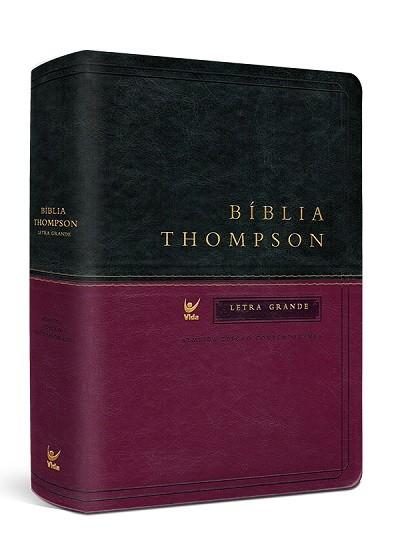 Bíblia Thompson AEC Letra Grande – capa luxo verde e vinho