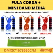 KIT PULA CORDA + MINI BAND MÉDIA YOGA PILATES EXERCICIO