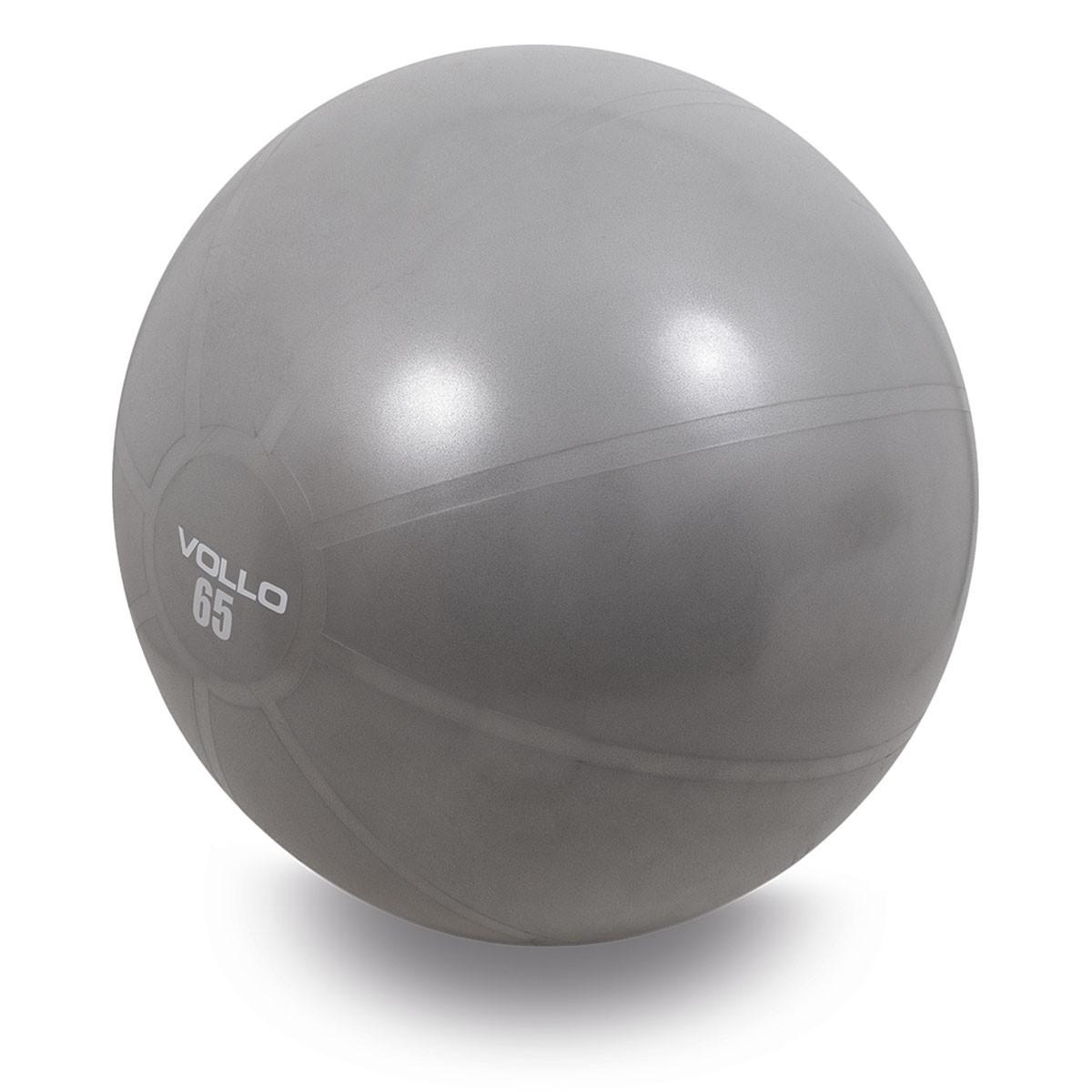 BOLA SUIÇA GYM BALL 65 CM CINZA COM BOMBA VOLLO