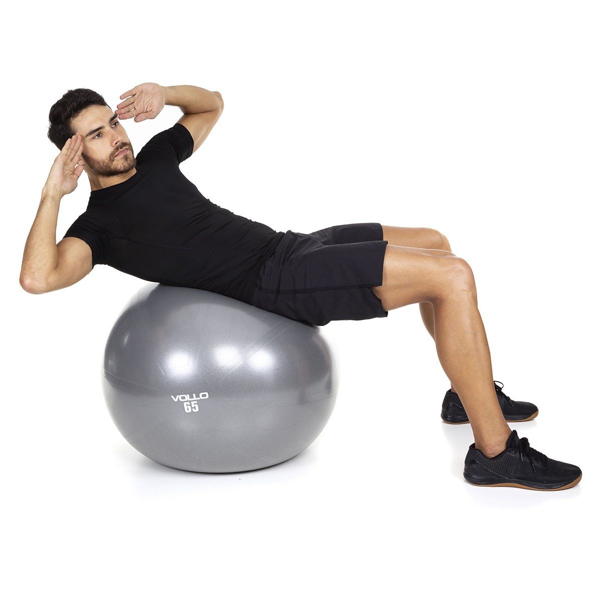 BOLA SUIÇA GYM BALL 65 CM CINZA COM BOMBA VOLLO