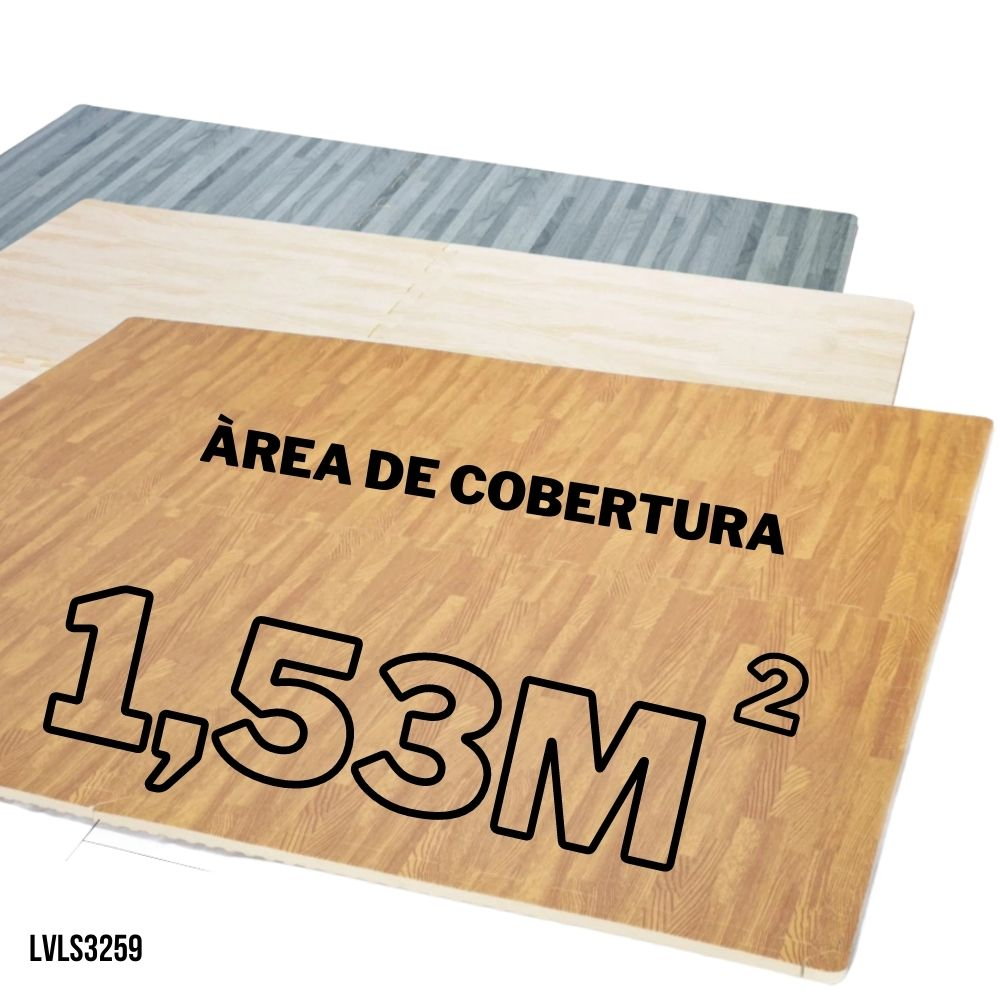 TATAME EVA EFEITO PISO MADEIRA 4 PLACAS 62X62 12MM - COBRE ÁREA 1,53M2