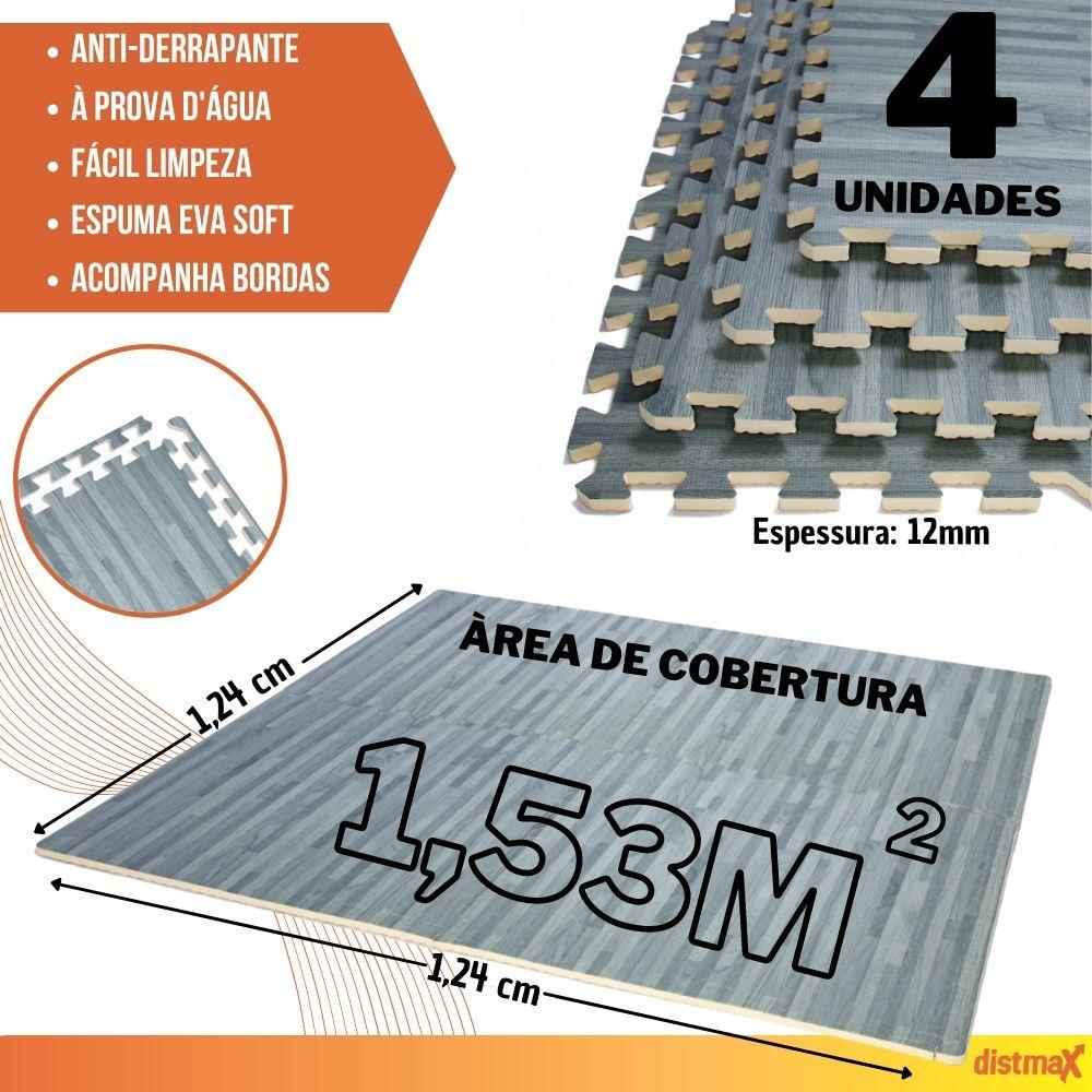 TATAME EVA EFEITO MADEIRA COR CINZA 4 UNIDADES 62X62 ESPESSURA 12MM