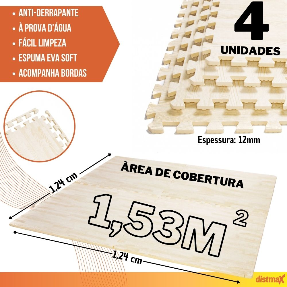 TATAME EVA EFEITO MADEIRA COR CLARA 4 UNIDADES 62X62 ESPESSURA 12MM