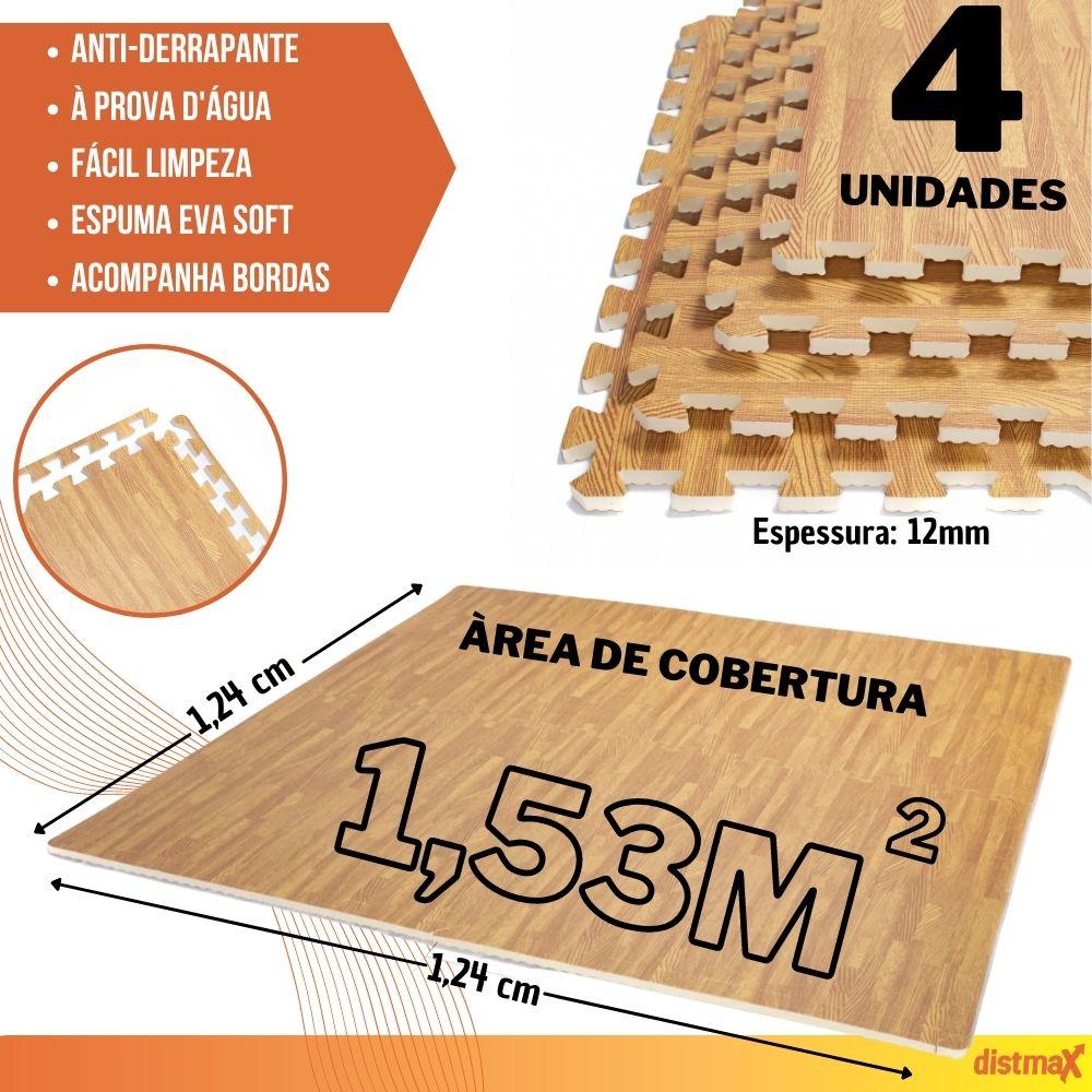 TATAME EVA EFEITO MADEIRA COR ESCURA 4 UNIDADES 62X62 ESPESSURA 12MM