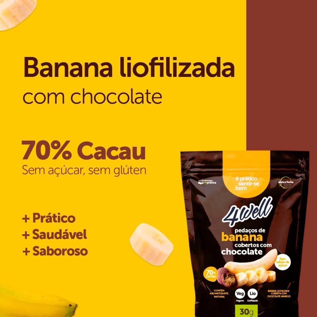 BANANA LIOFILIZADA COBERTA COM CHOCOLATE AMARGO 30G - 4WELL