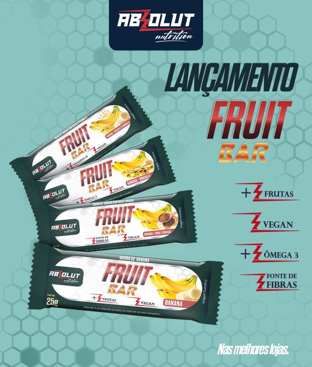 BARRA DE FRUTA FRUIT BAR BANANA + CHIA E LINHAÇA - ABS NUTRITION