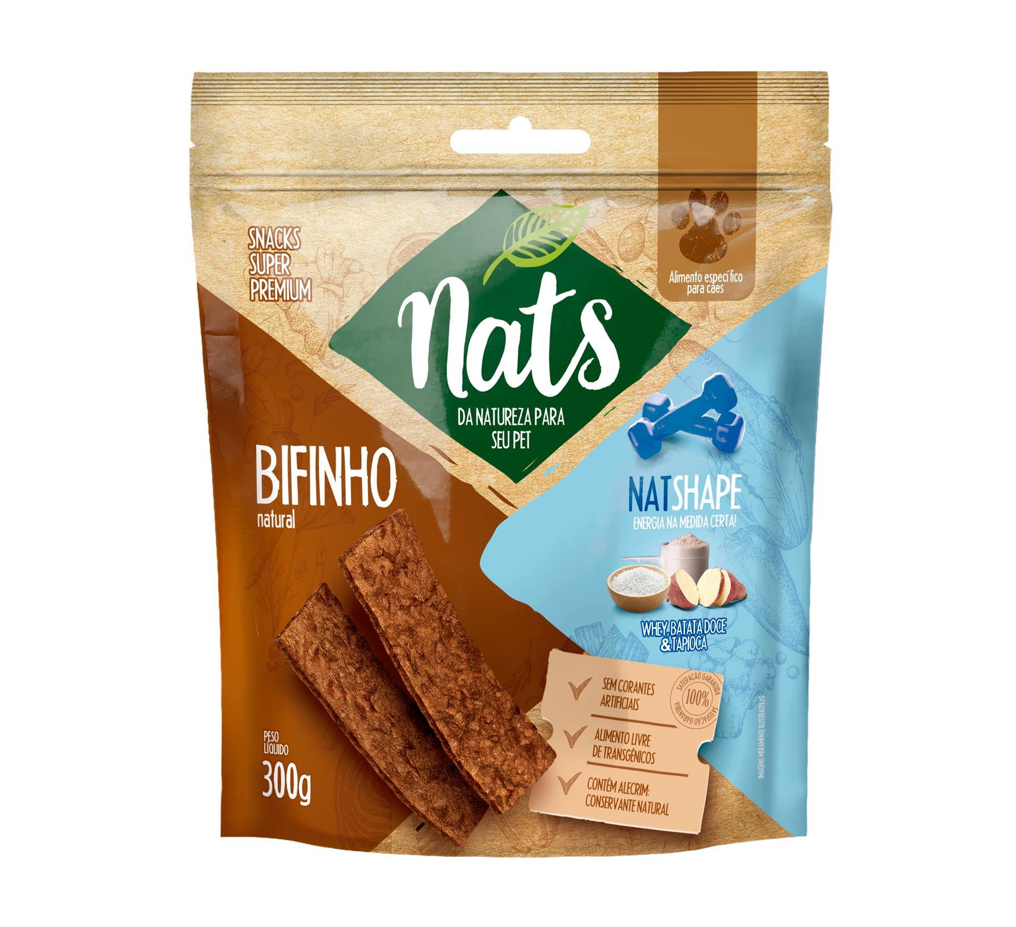 BIFINHO NATURAL PARA CÃES NATSHAPE 300G - NATS